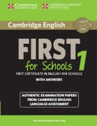 Cambridge First For Schools 1 For 2015 Exam With Key